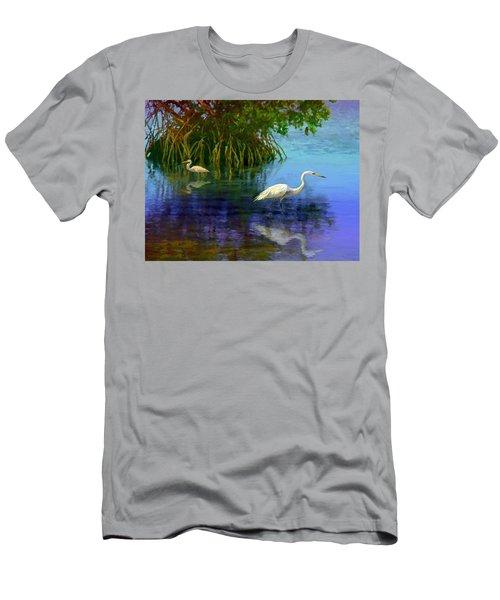 Herons In Mangroves Men's T-Shirt (Slim Fit) by David  Van Hulst