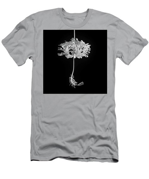 Hibiscus Schizopetalus Against A Black Background In Black And White Men's T-Shirt (Athletic Fit)