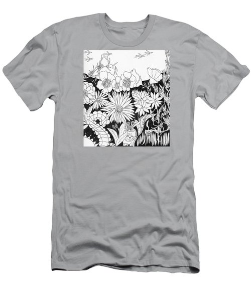Men's T-Shirt (Slim Fit) featuring the painting Hide And Seek by Lou Belcher