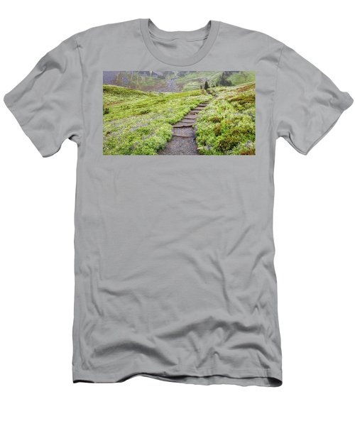 Men's T-Shirt (Athletic Fit) featuring the photograph Hiking Mount Rainier In The Fog by Pierre Leclerc Photography