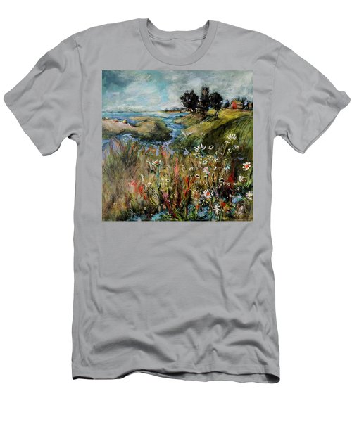 Hill Top Wildflowers Men's T-Shirt (Slim Fit) by Sharon Furner