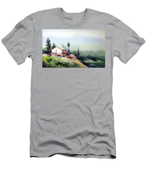 Men's T-Shirt (Slim Fit) featuring the painting Himalaya Village by Samiran Sarkar