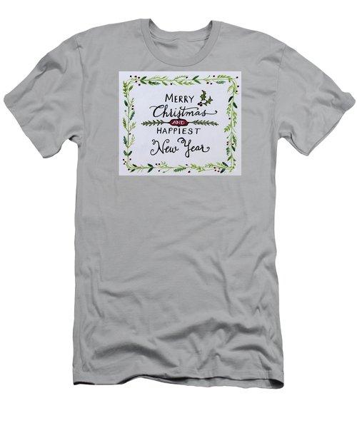 Holly Berry Merry Christmas Men's T-Shirt (Slim Fit) by Elizabeth Robinette Tyndall
