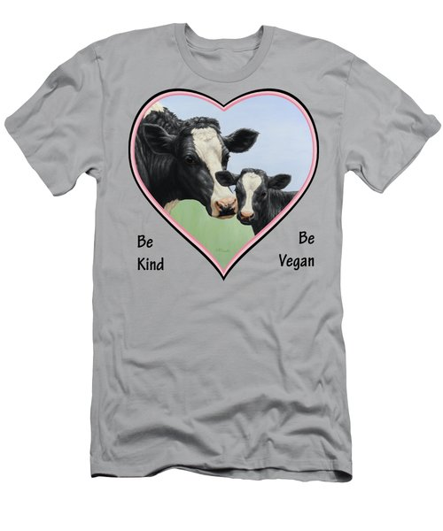Holstein Cow And Calf Pink Heart Vegan Men's T-Shirt (Athletic Fit)