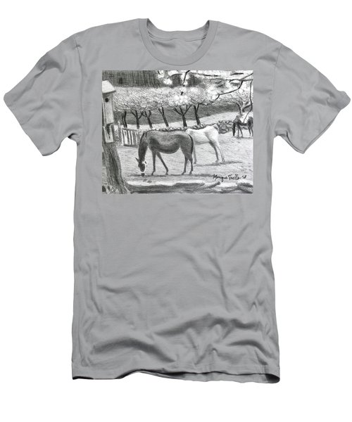 Horses And Trees In Bloom Men's T-Shirt (Athletic Fit)