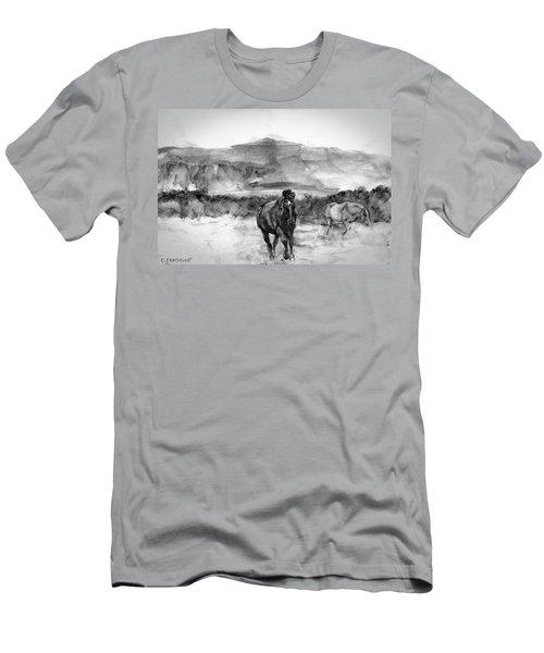 Horses Near Sybil Head West Kerry Ireland On The Wild Atlantic Way Men's T-Shirt (Athletic Fit)