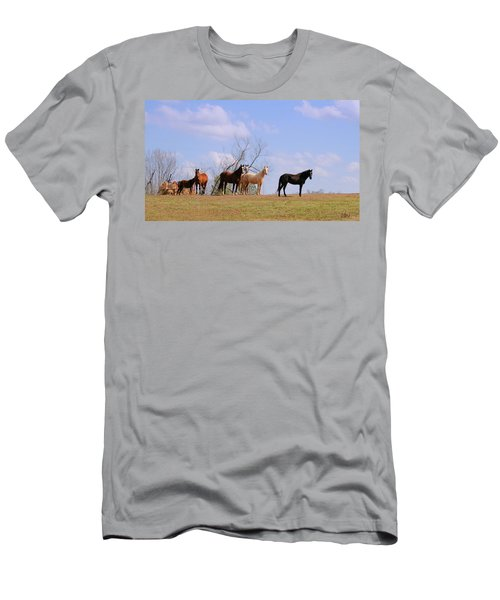 Men's T-Shirt (Slim Fit) featuring the photograph Horses On The Hill by Bonnie Willis
