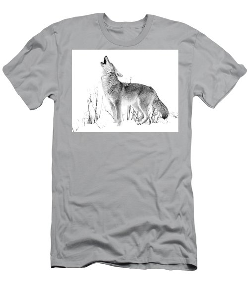 Howling Coyote Black And White Men's T-Shirt (Athletic Fit)