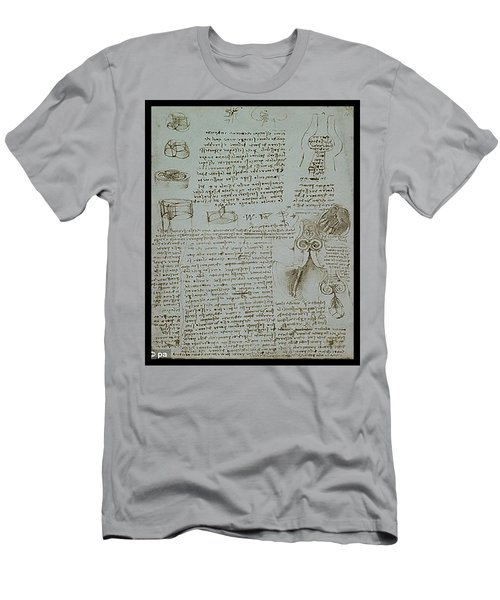 Men's T-Shirt (Slim Fit) featuring the painting Human Study Notes by James Christopher Hill