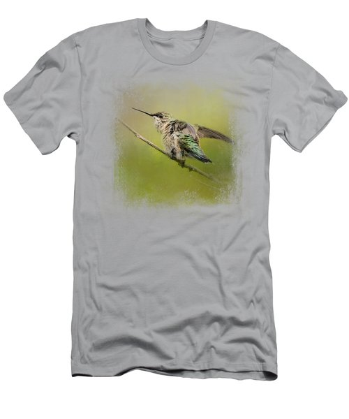 Hummingbird On Lime Men's T-Shirt (Athletic Fit)