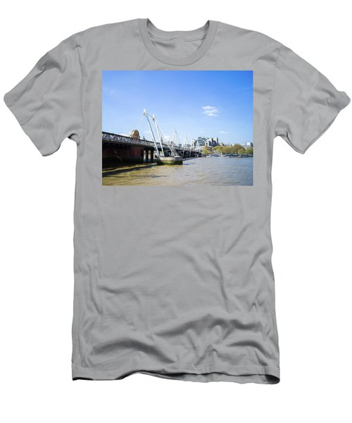 Men's T-Shirt (Athletic Fit) featuring the photograph Hungerford Bridge And Golden Jubilee Bridges by Stewart Marsden