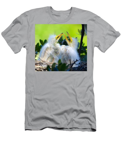 Hungry Egret Chicks Men's T-Shirt (Athletic Fit)