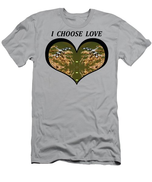 I Choose Love With Black And White Dragonflies On Golden Leave In A Heart Men's T-Shirt (Athletic Fit)