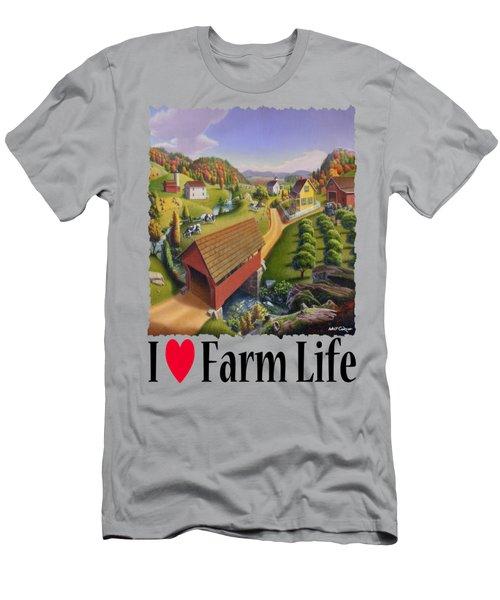I Love Farm - Appalachian Covered Bridge - Rural Farm Landscape Men's T-Shirt (Athletic Fit)