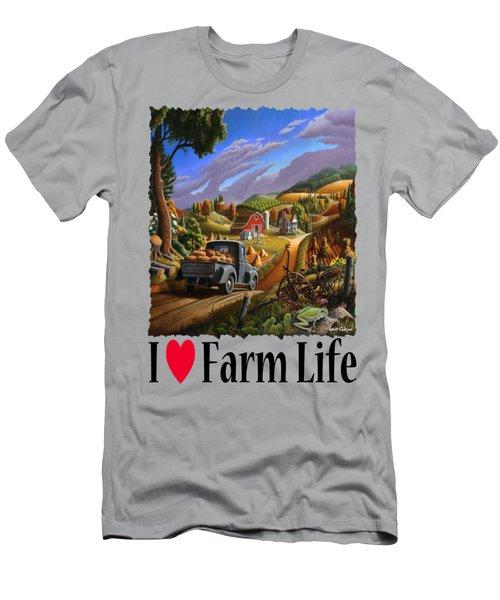 I Love Farm Life - Taking Pumpkins To Market - Appalachian Farm Landscape Men's T-Shirt (Athletic Fit)
