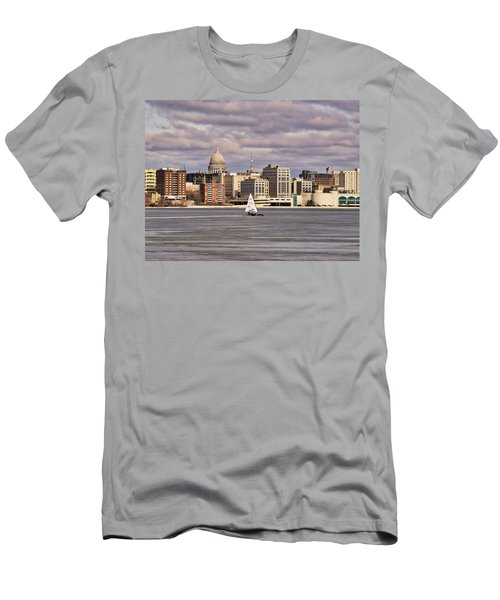 Ice Boat And Capitol - Madison  - Wisconsin Men's T-Shirt (Athletic Fit)