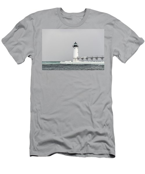 Ice On The Pier At Manistee Light Men's T-Shirt (Athletic Fit)