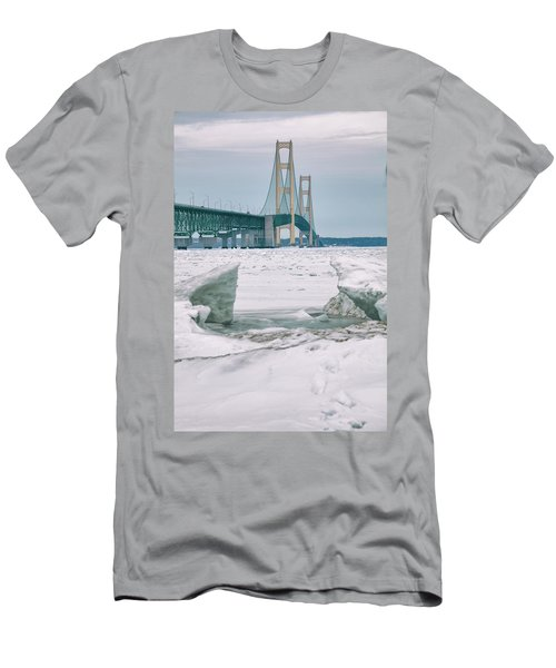 Men's T-Shirt (Slim Fit) featuring the photograph Icy Day Mackinac Bridge  by John McGraw
