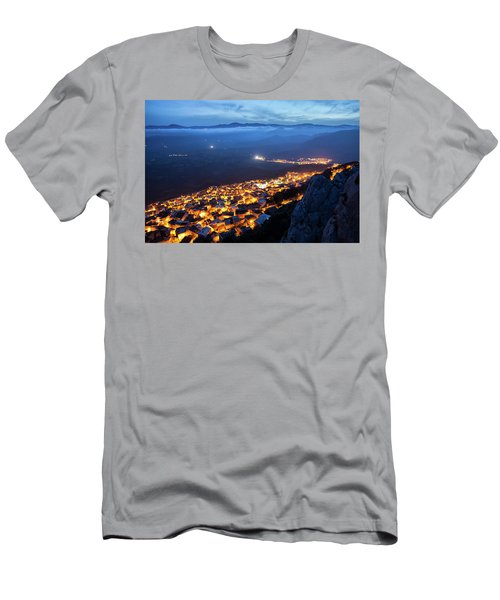 Illuminated Country At Night Men's T-Shirt (Athletic Fit)