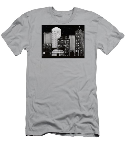 Men's T-Shirt (Slim Fit) featuring the drawing In The City by Kathy Sheeran