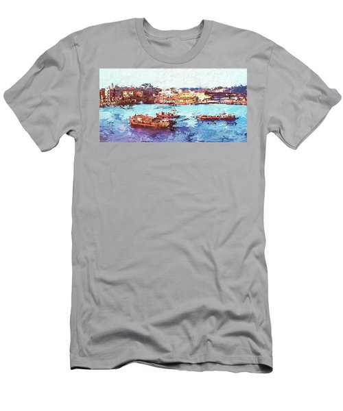 Men's T-Shirt (Slim Fit) featuring the digital art Inchon Harbor by Dale Stillman