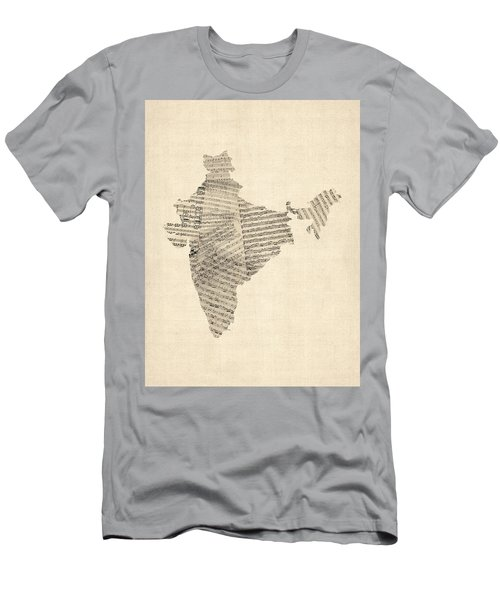 India Map, Old Sheet Music Map Of India Men's T-Shirt (Slim Fit) by Michael Tompsett