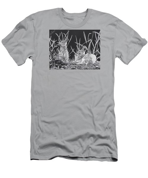 Men's T-Shirt (Slim Fit) featuring the mixed media Indian Ink Rabbits by Kevin F Heuman