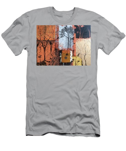 Men's T-Shirt (Slim Fit) featuring the mixed media Into The Woods by Pat Purdy