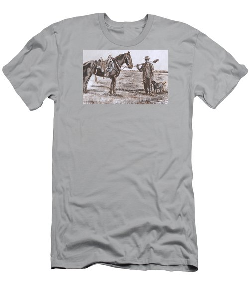 Irrigating The Hay Meadows Historical Vignette Men's T-Shirt (Slim Fit) by Dawn Senior-Trask