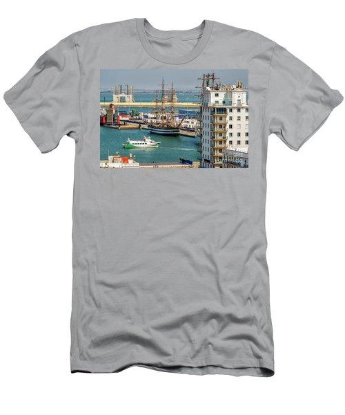 Men's T-Shirt (Athletic Fit) featuring the photograph Italian Training Ship Amerigo Vespucci Cadiz Spain by Pablo Avanzini