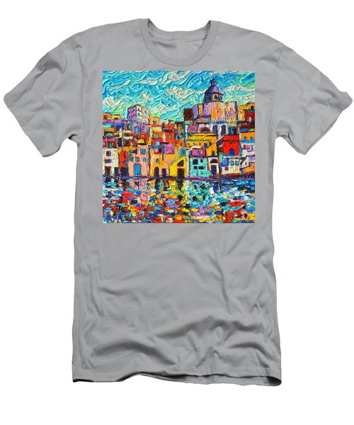 Italy Procida Island Marina Corricella Naples Bay Palette Knife Oil Painting By Ana Maria Edulescu Men's T-Shirt (Slim Fit) by Ana Maria Edulescu