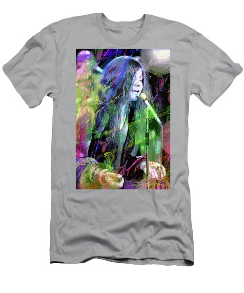 Janis Joplin Blue Men's T-Shirt (Athletic Fit)