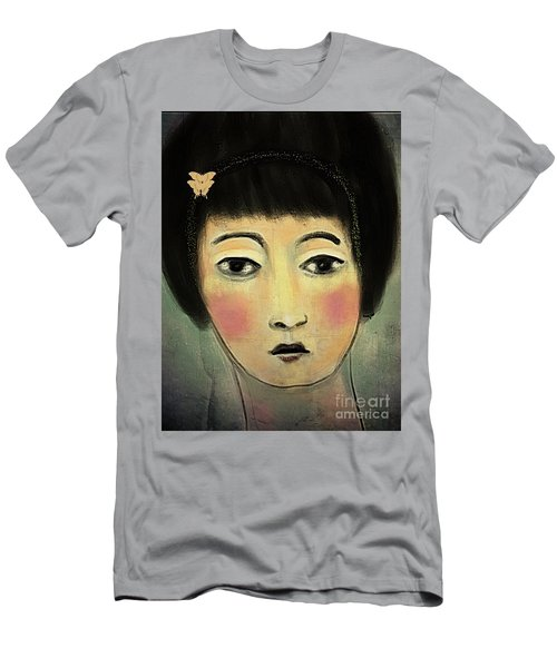 Men's T-Shirt (Slim Fit) featuring the digital art Japanese Woman With Butterflies by Alexis Rotella