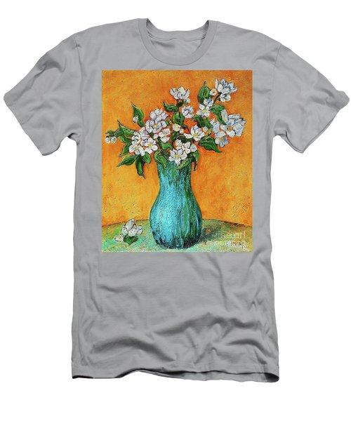 Jasmine Flowers In A Blue Pot Men's T-Shirt (Athletic Fit)
