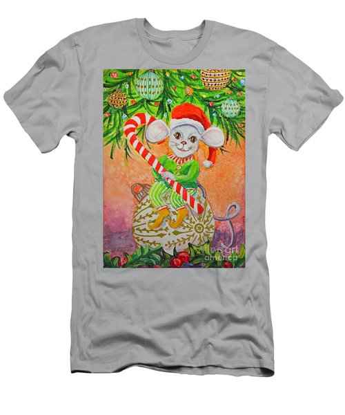 Men's T-Shirt (Slim Fit) featuring the painting Jingle Mouse by Li Newton
