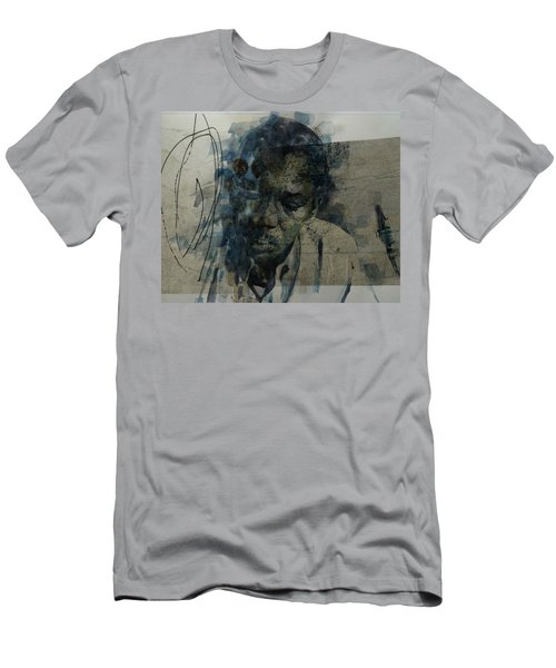 Men's T-Shirt (Slim Fit) featuring the mixed media John Coltrane / Retro by Paul Lovering
