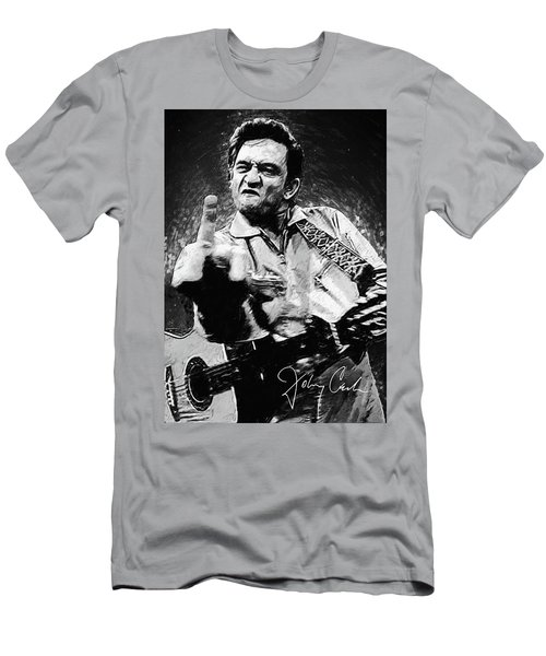 Johnny Cash Men's T-Shirt (Slim Fit) by Taylan Apukovska