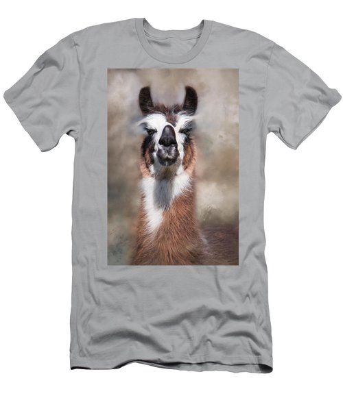 Men's T-Shirt (Slim Fit) featuring the photograph Jolly Llama by Robin-Lee Vieira