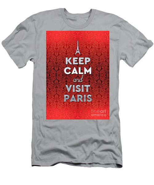 Keep Calm And Visit Paris Opera Garnier Floral Wallpaper Men's T-Shirt (Athletic Fit)