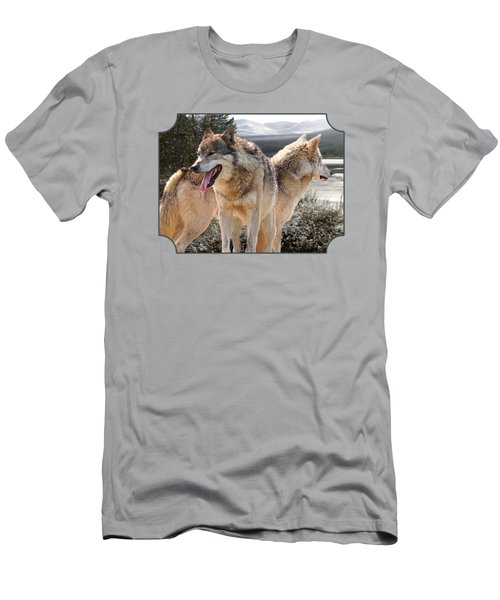 Keeping Watch - Pair Of Wolves Men's T-Shirt (Slim Fit)