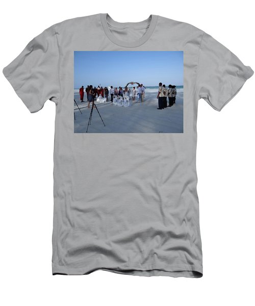 Kenya Wedding On Beach 2 With Maasai Men's T-Shirt (Athletic Fit)