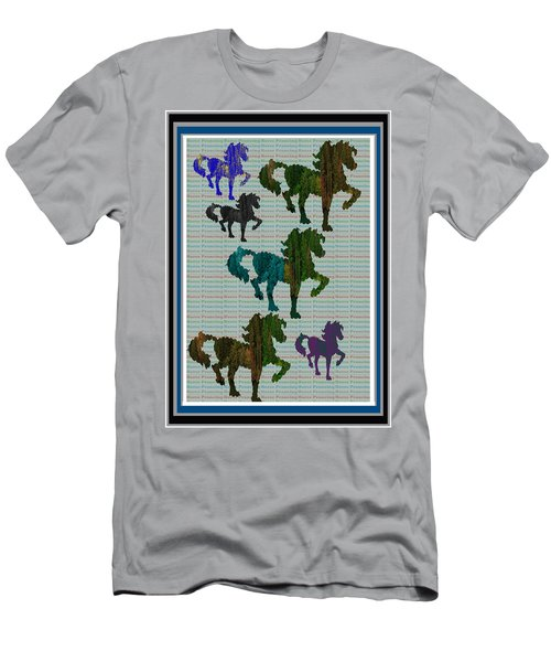 Kids Fun Gallery Horse Prancing Art Made Of Jungle Green Wild Colors Men's T-Shirt (Slim Fit) by Navin Joshi