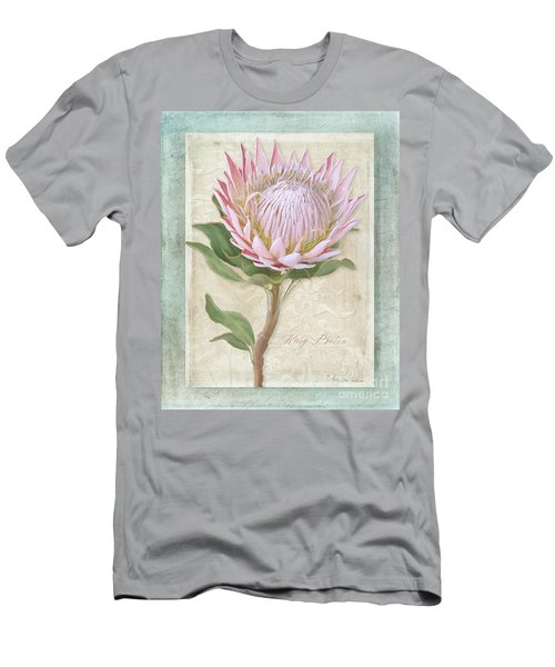 Men's T-Shirt (Athletic Fit) featuring the painting King Protea Blossom - Vintage Style Botanical Floral 1 by Audrey Jeanne Roberts