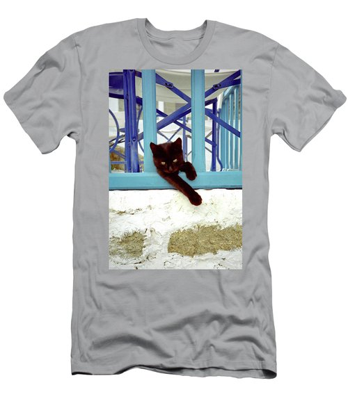 Men's T-Shirt (Athletic Fit) featuring the photograph Kitten With Blue Rail by Frank DiMarco