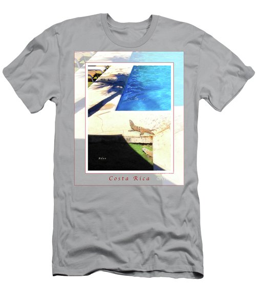 la Casita Playa Hermosa Puntarenas Costa Rica - Iguanas Poolside Greeting Card Poster Men's T-Shirt (Athletic Fit)