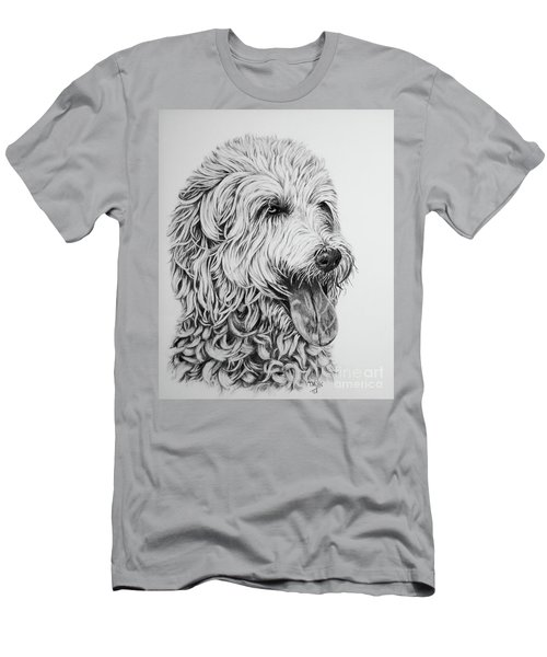 Men's T-Shirt (Slim Fit) featuring the drawing Labradoodle by Terri Mills