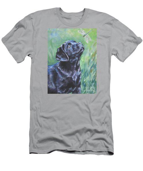 Labrador Retriever Pup And Dragonfly Men's T-Shirt (Slim Fit) by Lee Ann Shepard