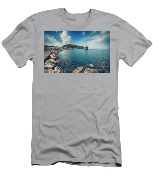 Men's T-Shirt (Athletic Fit) featuring the photograph Lacco Ameno Harbour ,  Ischia Island by Ariadna De Raadt