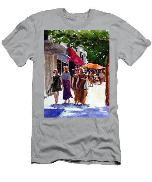Men's T-Shirt (Slim Fit) featuring the painting Ladies That Shop by Ron Stephens