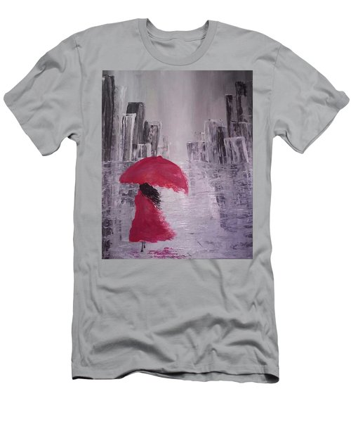 Men's T-Shirt (Slim Fit) featuring the painting Laidy In The City Abstract Art by Sheila Mcdonald
